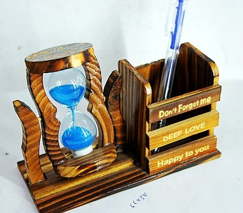 Wooden hourglass pen desk decoration school supplies crafts gift home accessories