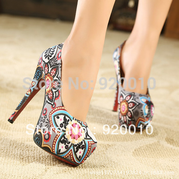 Free Shipping 2014 Women's Floral Waterproof High-heeled Shoes Female Fish Head High Sexy Flower Print Single Shoes Lady Closed