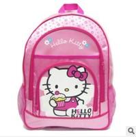 Free shipping Cartoon baby girls Hello kitty zipper shoulder School bag kids backpacks children's bookbags student bag