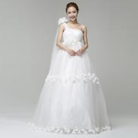 Gowns One shoulder wedding dress 2014 bandage flower the bride wedding dress plus size maternity high waist wedding dress