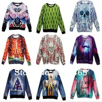[dan]New!2013 Fashion Women/Men Triangle Space print Galaxy hoodies sweaters Skull/animal Pullovers 3D Sweatshirts top S/M/L/XL