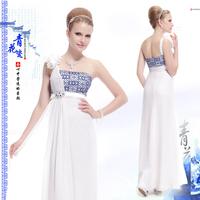 vestido de festa Betty chinese style evening dress long blue and white porcelain desig slim bandeaus long autumn one-piece dress