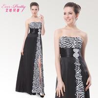 Betty tube top long design evening dress zebra print high waist placketing formal dress banquet dress girl dresses party dress