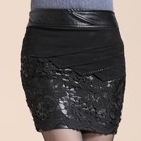 2014  pu  leather skirt  lace wap  skirt   slim hip skirt   for women