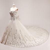 2014 new arrival wedding dress formal dress ultimate luxury crystal wedding dress big train slim bandage tube top sweet salomon