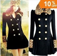 SML050 leopard fake fur collar double-breasted full sleeve ladies slim wool blazer casual coat autumn new fashion 2013