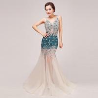 New arrival luxury 2014 diamond V-neck double-shoulder zipper style fish tail train party dresses vestido de festa vestidos