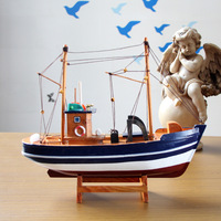 Mettle model wooden boat home decoration