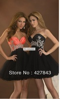 New Fashion Homecoming Dresses 2013 Sweetheart Lace Up Taffeta Sparkly A-line Short Mini Black Orange Cocktail Party Dress