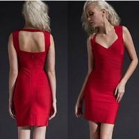 Free shipping  new fashion V neck black orange red purple woman sex evening party bandage sheath dress above the knee