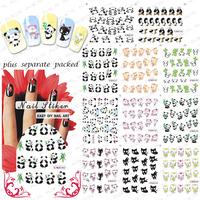 NEW 50sheet/LOT Kung Fu Panda&lovely cat cartoon Nail Art sticker Design nail accessories for nail art+individually packaging