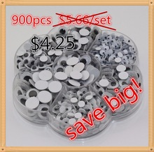 Free shipping 4mm/5mm/6mm/7mm/8mm/10mm/10x8mm Movable toy Eye 900pcs/Box(100% Enough Quantity) Plastic eye with self-adhesive(China (Mainland))