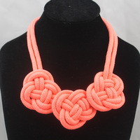 12 Color Rope Bohemia necklaces Neon Color Hand-knitted Necklace Fashion women lady's Cotton flowers Jewelry Free shipping