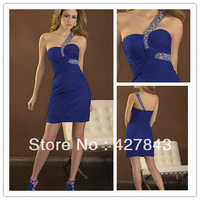 Custom One Shoulder Short Mini Above Knee Chiffon Ruffle Royal Blue Cocktail Party Dress Homecoming Dresses