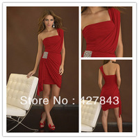 Fashion Cheap One Shoulder Short Mini Above Knee Chiffon Ruffle Sheath Red Cocktail Party Dress Homecoming Dress