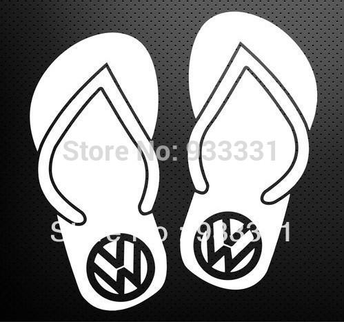 5pcs/lot Volkswagen Flip Flops Design Stickers Car Vinyl Decals JDM(China (Mainland))
