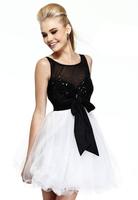 Black/ White Bateau Neckline Short Prom Dress With Beading