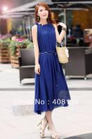 1pcs dropshiping Bohemian lotus leaf collar big yards long chiffon dress woman fashion dress maxi 9 colors