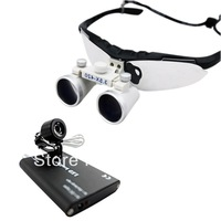 Surgical Medical Binocular Loupes + LED Head Light Lamp-black