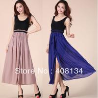 1pcs dropshiping Looks slim vest chiffon and cotton dress of 4 colors maxi dress color spell long dress