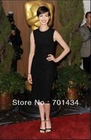 2014 Free shipping Anne Hathaway Black Simple O-neck Mid-Calf length Sheath Custom Made Celebrity Dress 134108