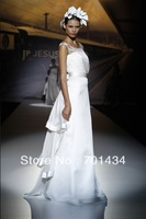 2014 Modest A-line Scoop-neck White Organza Floor-length Custom Made Wedding Dress 131265