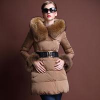 2014 winter raccoon fur with a hood slim medium long down coat women's genuine leather coat