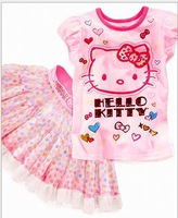 2013 (5set/Lot ) cute little girl Hello kitty cat suit veil Puff skirt suit 2pcs Cotton Shirt + Skirt Babys Children's clothing