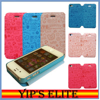 New Arrival PU Leather Case For Iphone 4 4s High Quality Cute Style Case Free Shipping