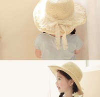 Child 2013 strawhat baby hat sunbonnet big sun hat lace cap parent-child