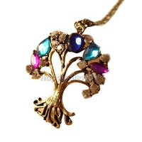 BUH9 New Girl Colorful Stone Hawthorn Pendants Fashion Vintage Style Necklaces
