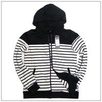 100% cotton white and black  stripe  male jackets  mens coats 2013 fashion hoodies M,L,XL
