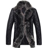 Mens Leather Jacket Genuine Leather Down Jacket Male Sheepskin Fox Black Leather Jacket Men's Fur Jacket Plus Size XXXL XXXXL