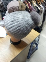 Hat female autumn and winter rabbit fur hat fox fur ball women's autumn and winter thermal knitted ear protector cap