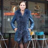 New 2014 Genuine Leather Coat Slim Medium Long Genuine Leather Down Jacket For Women Sheepskin Large Fur Collar Plus Size Coats