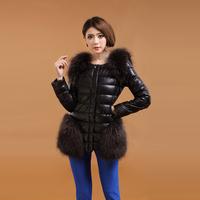 Women's Genuine Leather Jacket  2014 Winter Fashion Genuine Sheepskin Down Coat Slim Raccoon Fur Genuine Leather Jacket Women