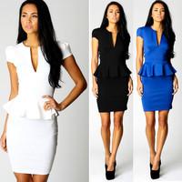 M L XL Plus Size 4 Colors 2014 New Fashion Women Summer Short Sleeve Elegant Bodycon Pencil  Dress OL Work Wear  N118