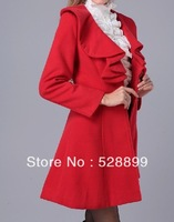 2013 fall and winter clothes long section woolen jacket wool coat flounced jacket