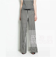 2013 new fashion hot-selling classic black and white vertical striped casual trousers pants women free shipping