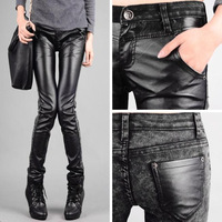 Plus size tight pants PU pants elastic jeans skinny pants pencil pants female trousers boot cut jeans