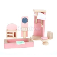 Wooden Dolls House Furniture Bathtub Shower Room Curtain Wash Stand Sink Cabinet