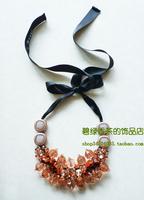 Marni fashion necklace crystal ribbon adjustable long short orange yellow smoke three-color