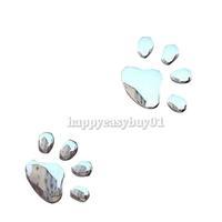 Car Sticker 3D Dog Bear Footprints Chrome Badge Emblem Car Sticker Decal H1E1