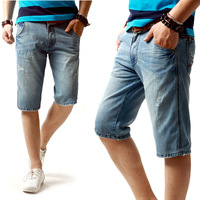 Summer denim capris light color distrressed jeans casual jeans