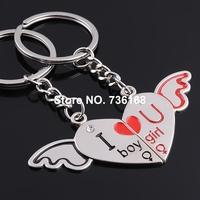 Free shipping (3 pairs/lot) chaveiro namorada classic fly heart key ring fashion zinc alloy sweetheart key ring for lovers
