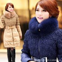 Women's down coat luxury fox fur slim medium-long down coat thickening womens winter down coat