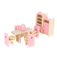 Childrens Dolls House Furniture Wooden Dining Room Miniature SET Pink Lovely NEW