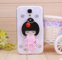 Free shipping New fashion mobile phone case Beautiful kimono girl mirror covers for samsung galaxy S4 SIV I9500