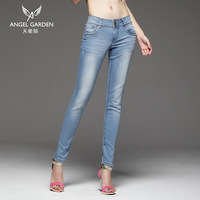 Free shipping Angel garden women's jeans repair skinny jeans pants denim pencil pants