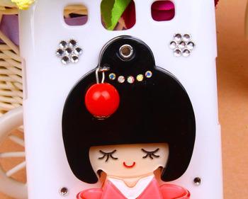 3D Cartoon Japanese Girl Rhinestone Cover Mirror Crystal Hard Diamond case for Samsung Galaxy S3 i9300 SIII